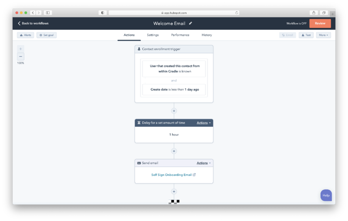 Welcome Email Workflow Screenshot